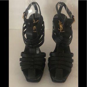 YSL Tribute Cage Sandal Black Leather 38 1/2